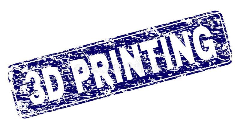 Porysowany druk Obramiający 3D prostokąta Zaokrąglający znaczek ilustracja wektor