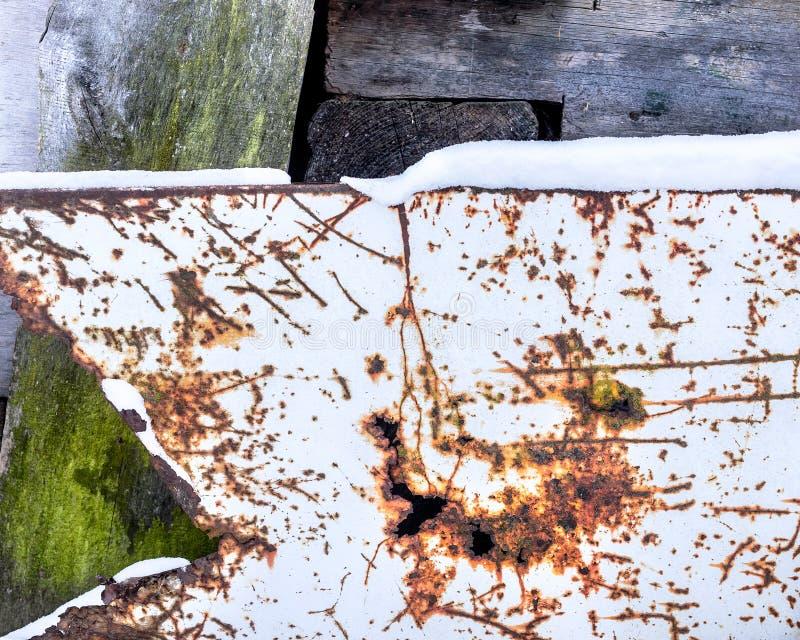 Porysowany metalu prześcieradło i ośniedziały dziury tło Drewniana deska zakrywająca z zielonym mech fotografia stock