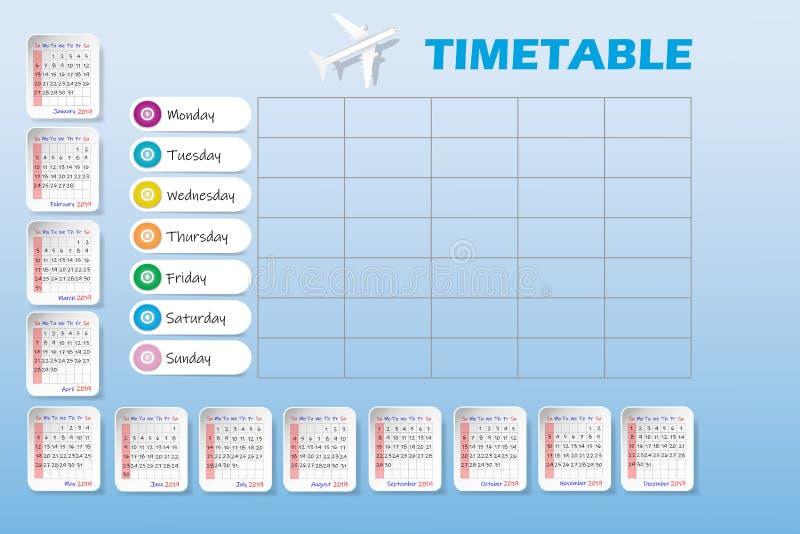 Porządkuje dla roku 2019 i pustego tygodniowego transportu powietrznego rozkład zajęć ilustracja wektor
