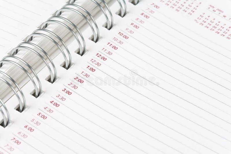 porządek dzienny kalendarz obraz stock