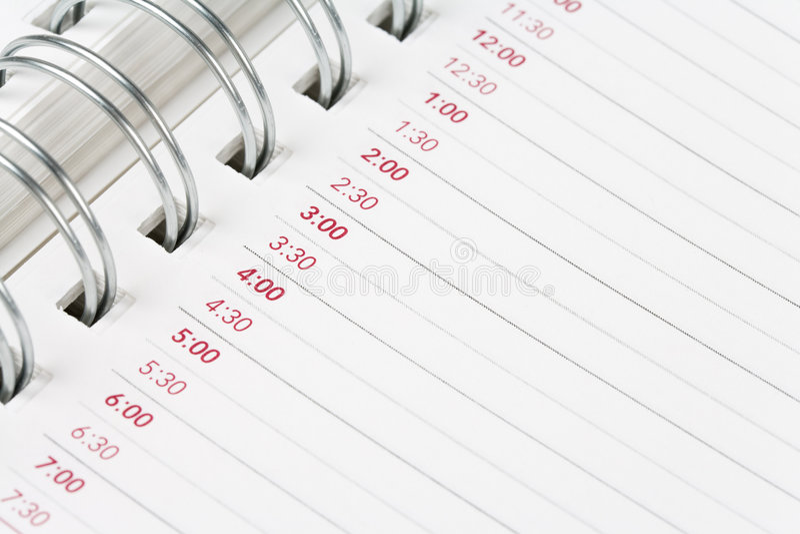 porządek dzienny kalendarz zdjęcia stock