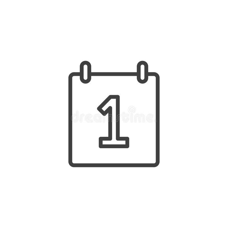 Porządkuje 1st dnia kreskową ikonę ilustracja wektor