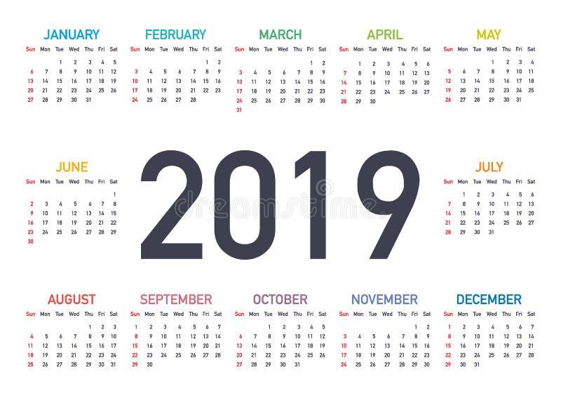 Porządkuje 2019, tydzień zaczyna od Niedziela, biznesowy szablon Editable wektorowa kartoteka dostępna Angielszczyzny i Niedziela royalty ilustracja