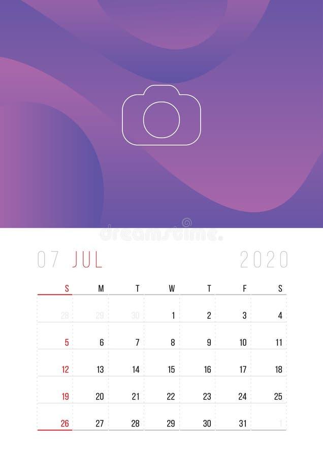 Porządkuje 2020, Ustawia biurko kalendarza szablonu projekt, royalty ilustracja