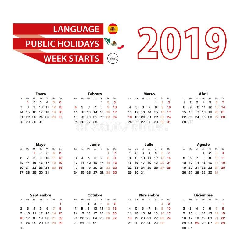 Porządkuje 2019 w Hiszpańskim języku z świętami państwowymi obliczenie ilustracja wektor