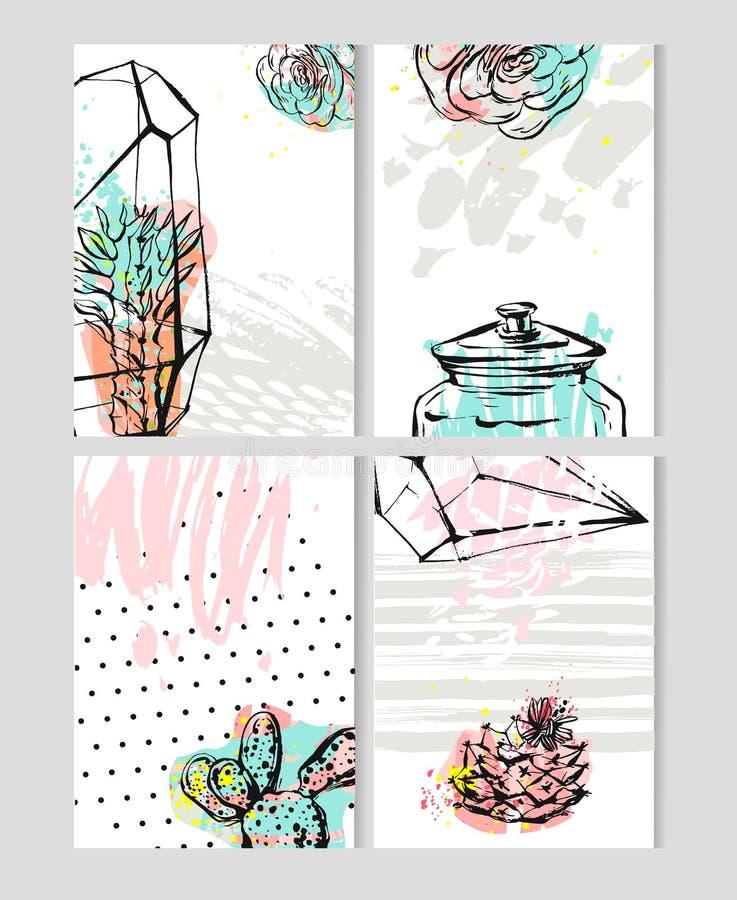 Porządkuje 2017 z ślicznymi dziwacznymi kreskówka kaktusów majcherów ilustracjami Wektoru kalendarz ustawiający z kaktusowymi suk ilustracja wektor
