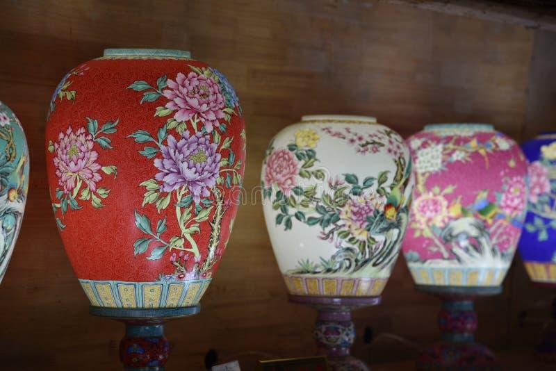 Porzellan, das Laterne-Jingdezhenjiangxi Provinz-China blüht stockfotos