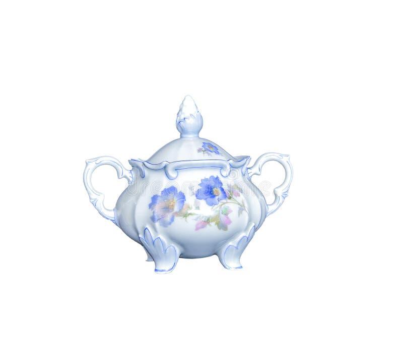 Porzellan-Zuckerschüssel der Weinlese elegante lokalisiert auf weißem backgroun stockbilder