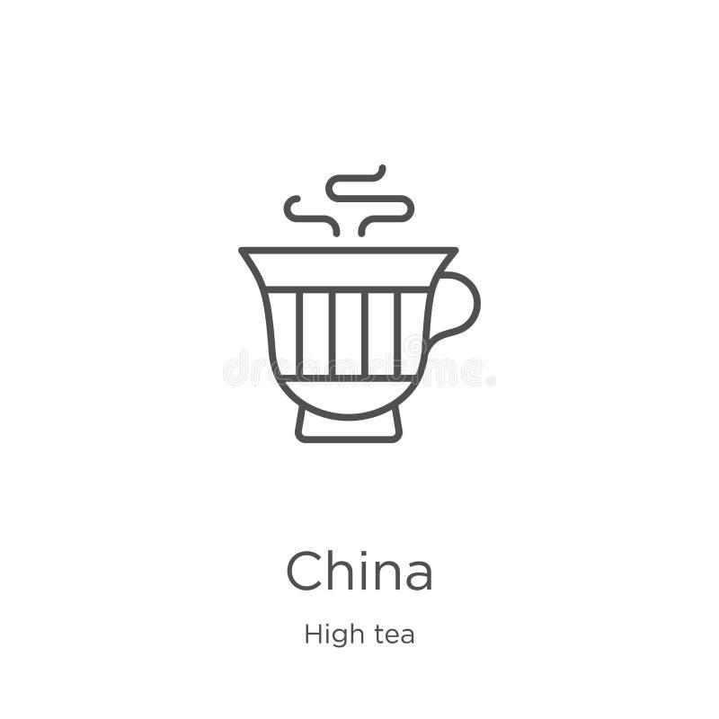 Porzellanikonenvektor von der Sammlung des hohen Tees D?nne Linie Porzellanentwurfsikonen-Vektorillustration Entwurf, dünne Linie vektor abbildung