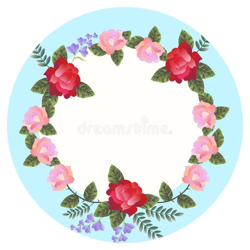 Porzellanplatte mit einem Muster von den Rosen und von Glockenblumen in der klassischen Art lokalisiert auf Weiß stock abbildung