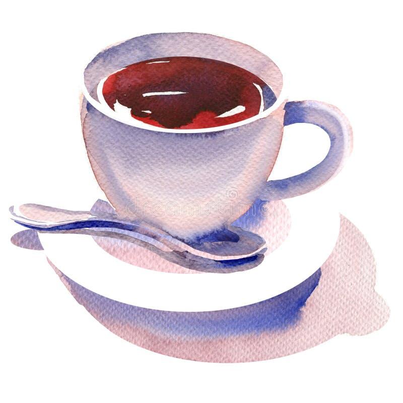 Porzellantasse tee mit Teelöffel und Untertasse, lokalisiertes, heißes Getränk, schwarzer Tee des Aromas, Handgezogene Aquarellil stock abbildung