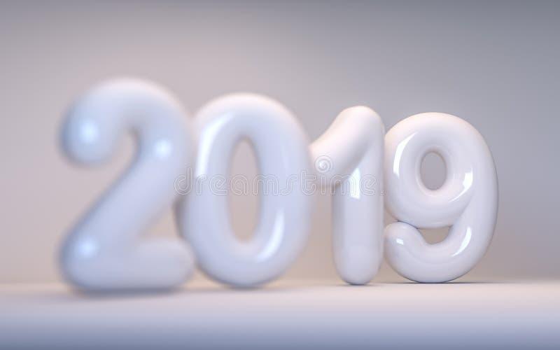 Porzellanzahl neues Jahr 2019 mit einer Schärfentiefe 3d übertragen lizenzfreie stockfotos