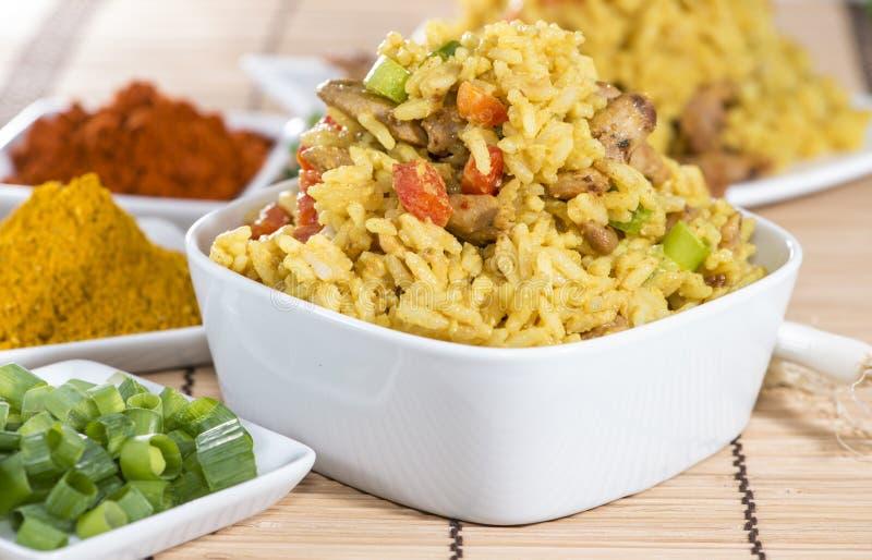 Porzione di riso di curry fotografie stock
