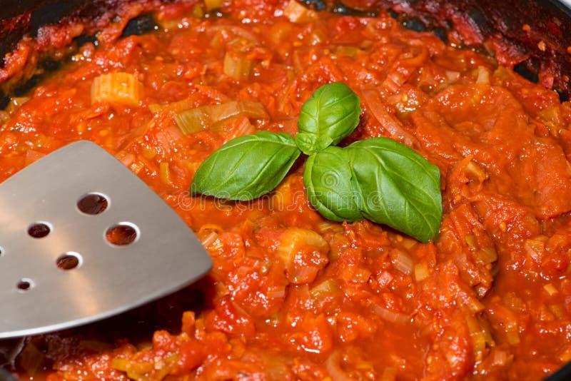 Porzione di salsa al pomodoro cucinata fresca immagini stock