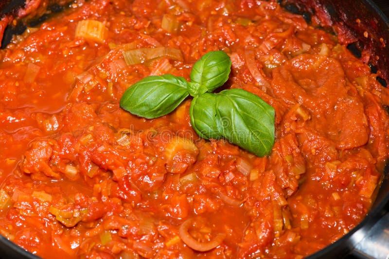 Porzione di salsa al pomodoro cucinata fresca immagini stock libere da diritti