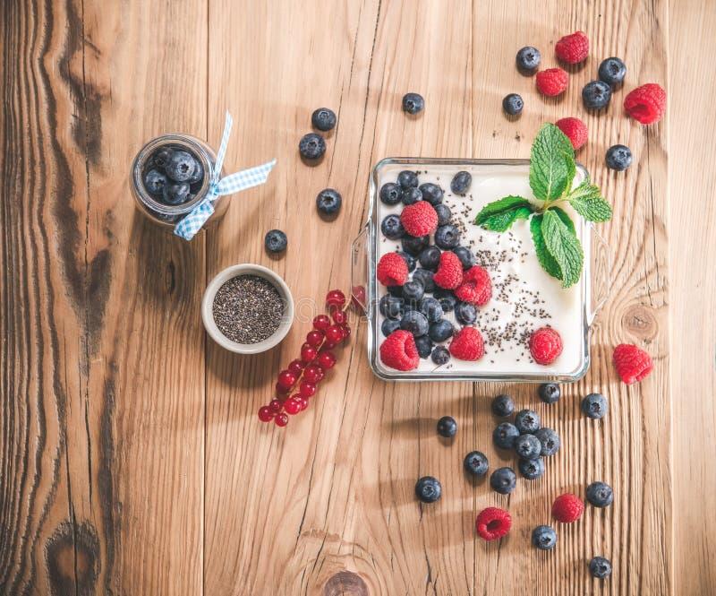 Porzione di yogurt con bacche che servono in una ciotola di vetro fotografia stock libera da diritti