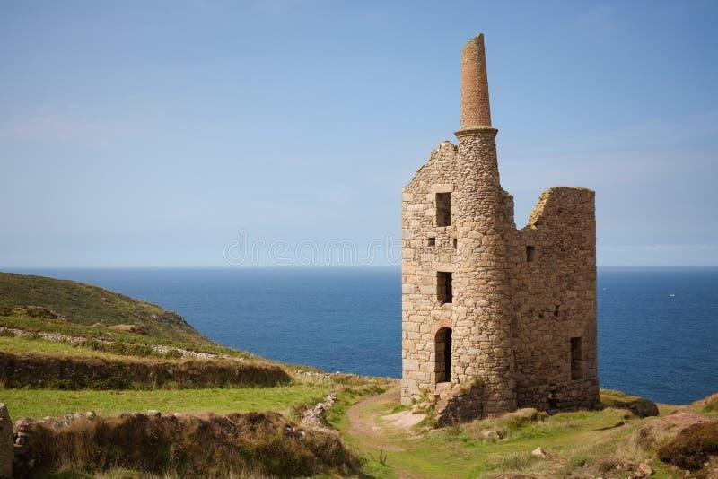 Porzuceni Kornwalijscy Blaszanej kopalni budynki fotografia stock