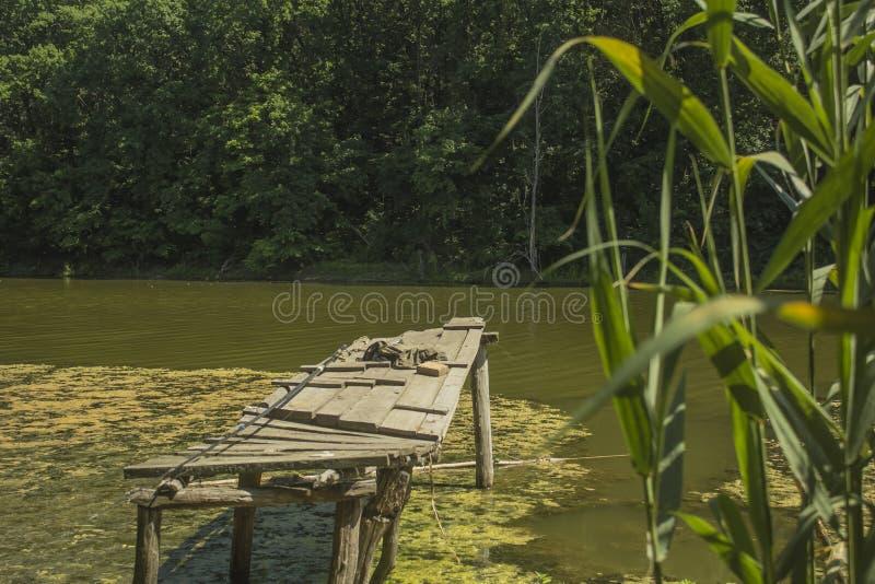 Porzucony stary most połowowy na jeziorze obraz royalty free