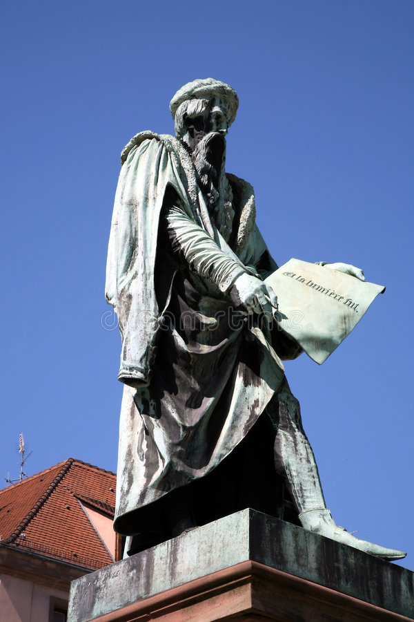 posąg Gutenberg Strasbourg france obraz royalty free