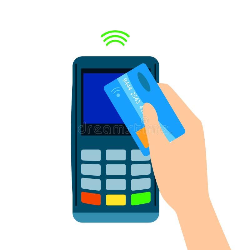 POS终端证实通过手机付的付款 NFC付款 平的样式 流动银行业务和付款 向量例证