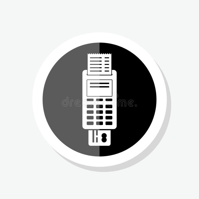 POS τελικό εικονίδιο αυτοκόλλητων ετικεττών Το τιμολόγιο μηχανών πληρωμής γέμισε το επίπεδο σημάδι απεικόνιση αποθεμάτων