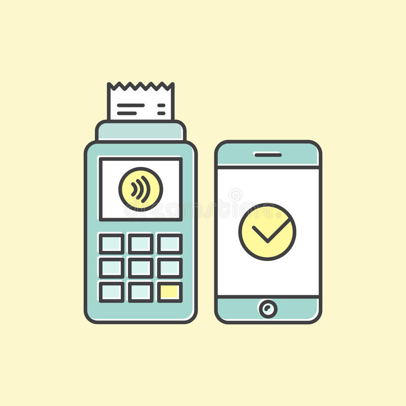 POS το τερματικό επιβεβαιώνει την πληρωμή που γίνεται μέσω του κινητού τηλεφώνου Πληρωμές εικονιδίων NFC έννοιας σε ένα επίπεδο ύ απεικόνιση αποθεμάτων