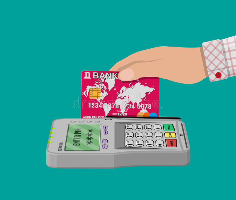 Pos banka i terminal karta ilustracji