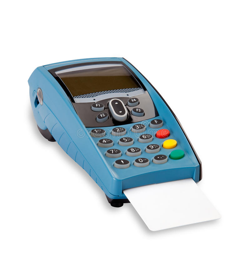 Pos with blank credit card. Modern pos with blank credit card on white with shadow (clipping path stock image