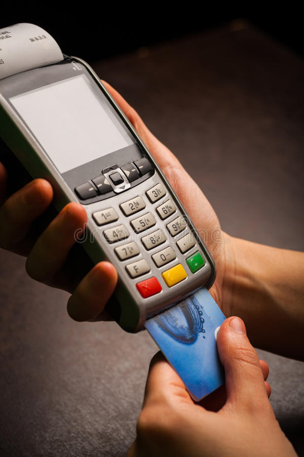 POS and credit cards. Color image of a POS and credit cards stock images