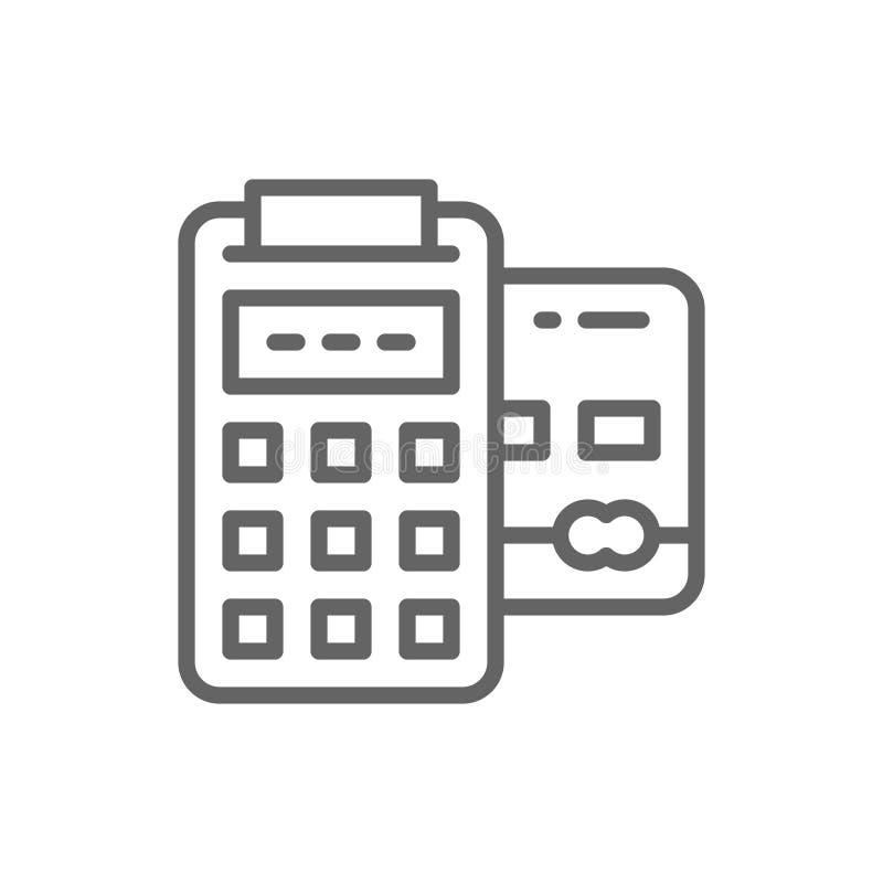 POS creditcard, het bank terminal, de lijnpictogram van betalingenmethodes vector illustratie