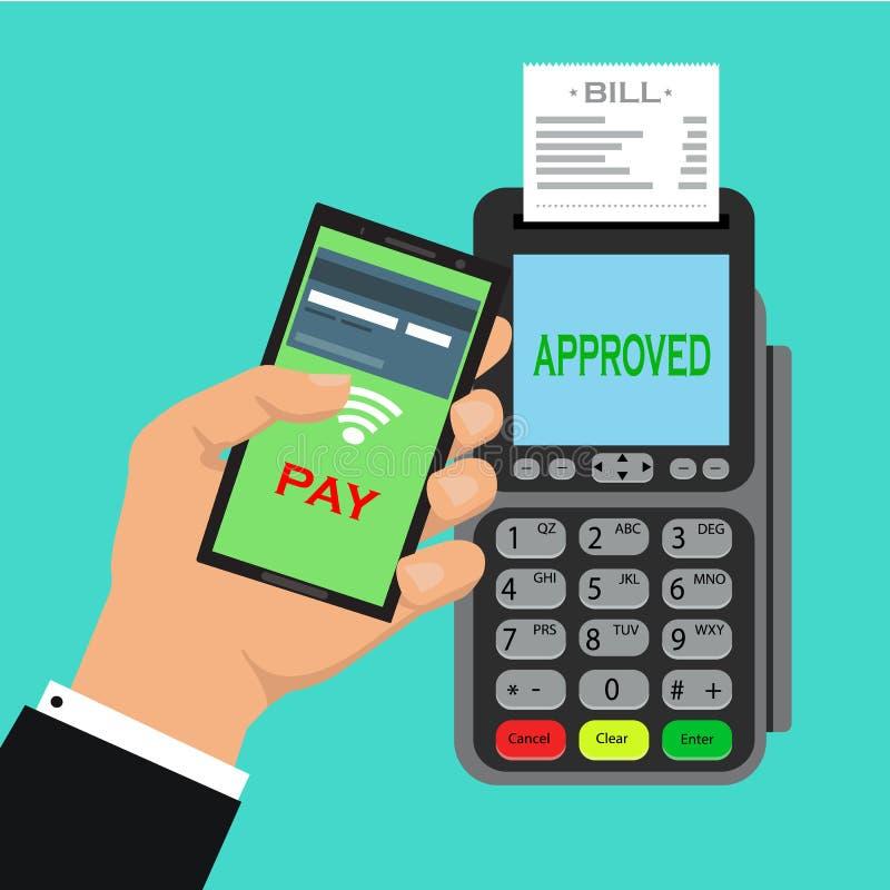 Pos de terminal bevestigt de betaling door smartphone vectorillustratie in vlak ontwerp op blauwe achtergrond nfc betalingenconce royalty-vrije illustratie