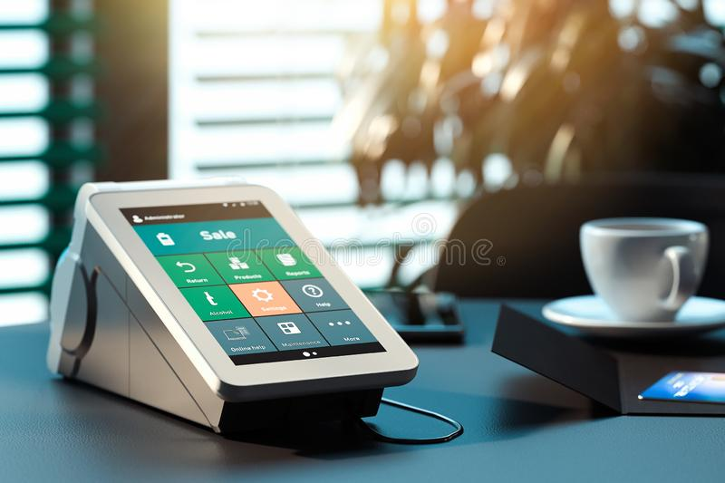POS payment terminal. NFC payments concept. 3d rendering. royalty free stock images