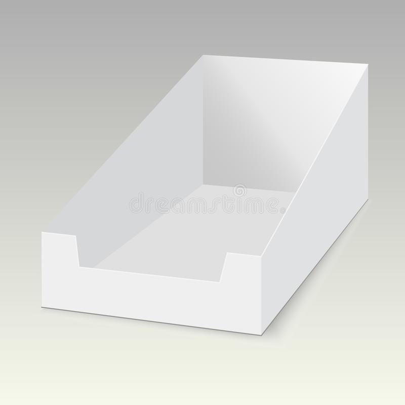POS POI纸板空白空的显示展示箱子持有人 导航假装模板准备好您的设计 皇族释放例证