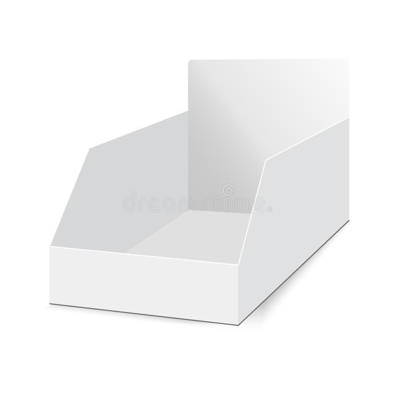 POS POI toont de karton lege lege vertoning dooshouder Vectorspot op malplaatje klaar voor uw ontwerp stock illustratie