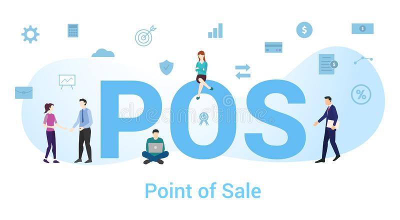 Pos point of sale concept with big word or text and team people with modern flat style - vector royalty free illustration