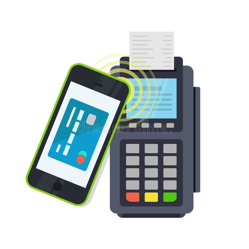 POS terminal confirms the payment made through mobile phone vector illustration