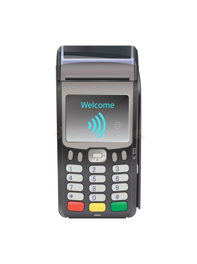 POS Terminal for Contactless payment with welcome wifi, communication technology. Near-field communication protocol. vector illustration