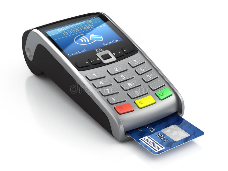 POS Terminal with credit card. On a white background royalty free illustration