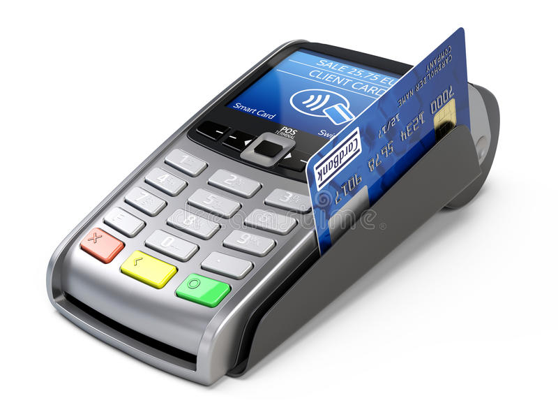 POS Terminal with credit card on a white background royalty free illustration