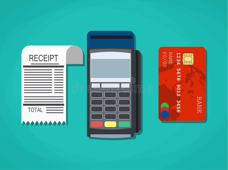Pos terminal, document ontvangstbewijs en debet-credit royalty-vrije illustratie