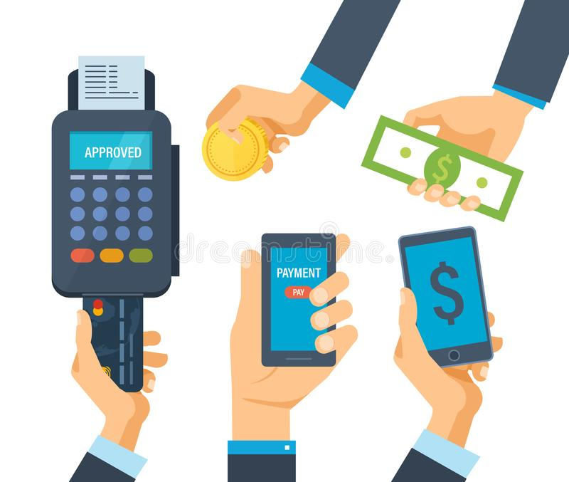 Pos terminal for financial transactions. Financial transactions, operation on payment. vector illustration