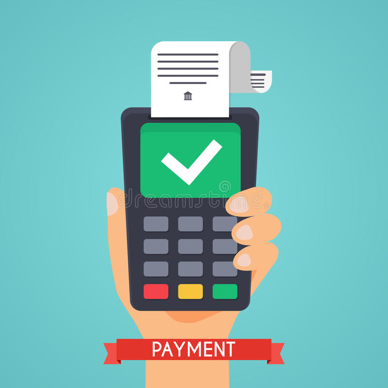 Pos terminal in flat style. Pos payment. Flat design modern vec vector illustration
