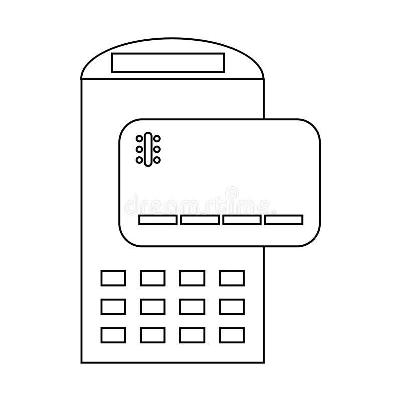 POS terminal i kredytowej karty ikona, konturu styl royalty ilustracja