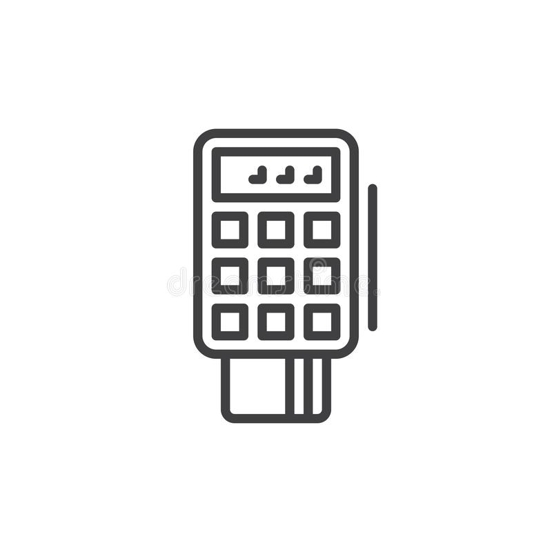 POS terminal line icon. Outline vector sign, linear style pictogram isolated on white. Symbol, logo illustration. Editable stroke. Pixel perfect vector royalty free illustration