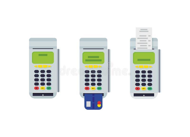 Pos.-terminal med den insatta kreditkorten och det utskrivavna kvittot Modern plan designbeståndsdel Vektor Eps10 stock illustrationer