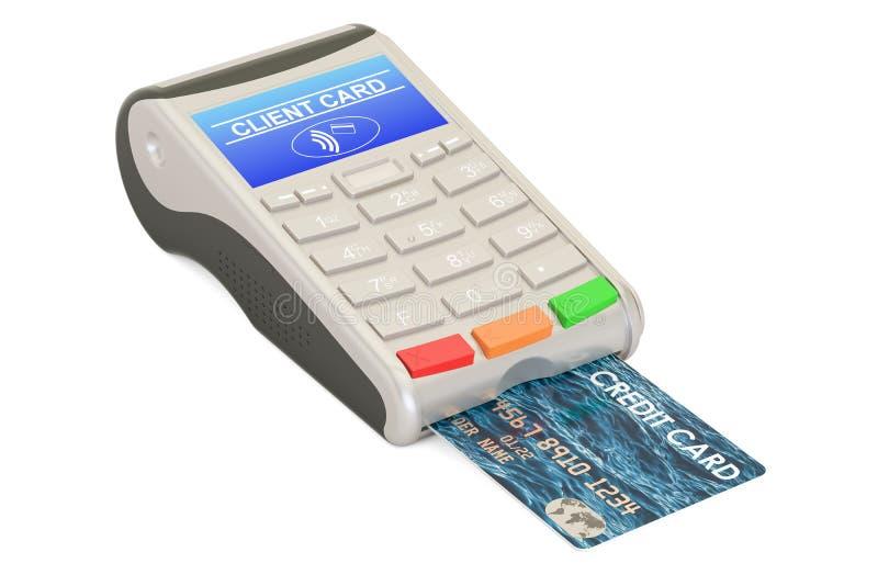 Pos.-terminal med kreditkortcloseupen, tolkning 3D vektor illustrationer