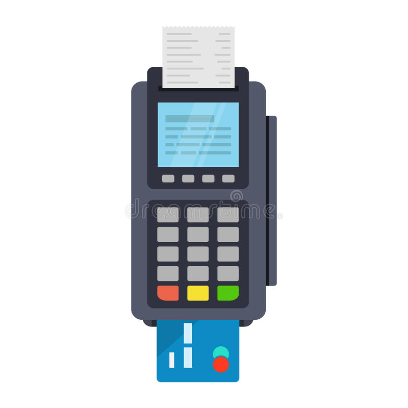 POS terminal vector icon in flat style stock illustration