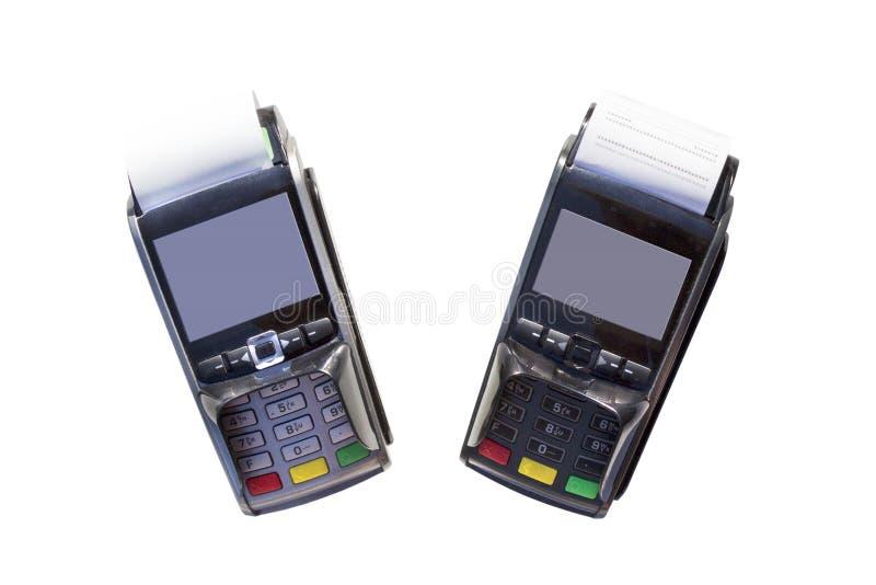 POS terminale, ręka swiping kartę kredytową, zapłata z NFC tecnology odizolowywającym na białym tle fotografia royalty free