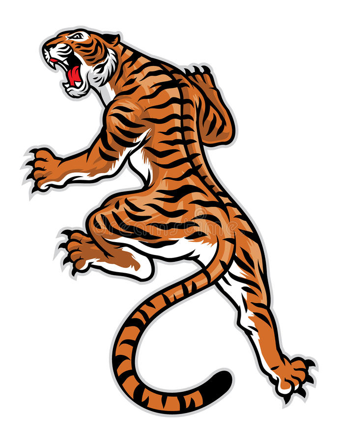 Posa classica del tatuaggio della tigre illustrazione di stock