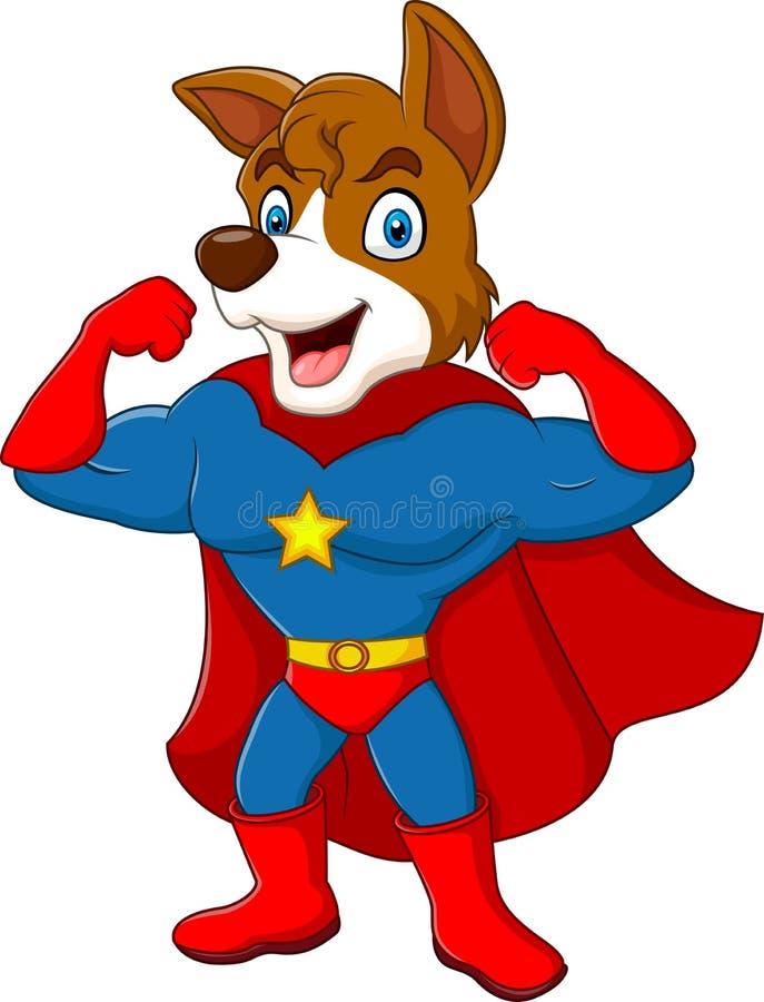 Posa del cane del supereroe del fumetto isolata su fondo bianco royalty illustrazione gratis